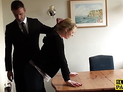 Throatfucked UK slave spanked..