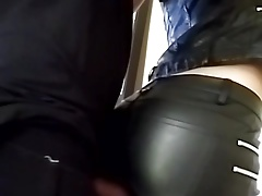 rubbering my cock with gal in..