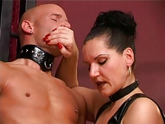 Dominatrix jack-off 4 slaves in..