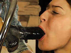 Pretty damsel inhales dildo, and..