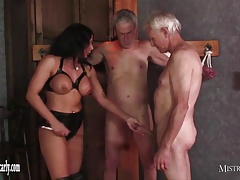 Domme Carly feeds cuckold sub her..