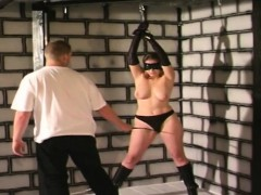 slut gets bound to the ceiling by..