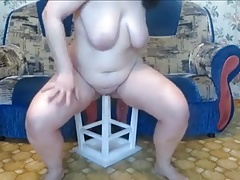 Mature  victim play with tabouret