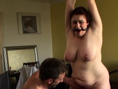 Chubby brit slave ball-gagged and..