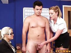 Brit office femdoms jerk  in..