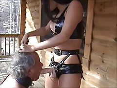 Female dominance Belt cock - Suck..