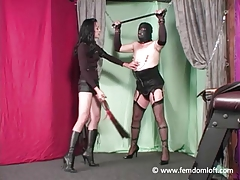 Domme penalizing and cropping her..