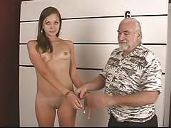 Arrested youthfull brunette takes..