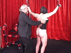 Spread-eagled  female in leather..