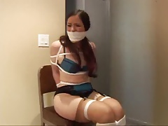 Caroline tied and ball-gagged