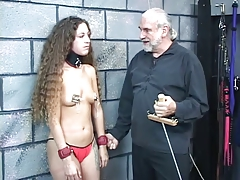 Small-titted collared bondage &..