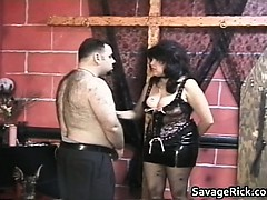 Giant and furry stud gets trussed..