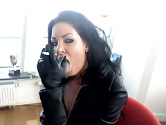 Smoking black-haired - leather..