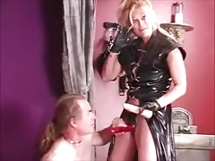 Light-haired Domme in ebony porks